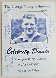GEORGE YOUNG 1986 MULTI-SIGNED FOOTBALL TESTIMONIAL DINNER MENU