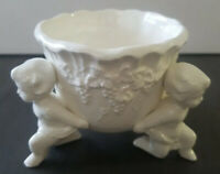 21 Lefton Renaissance 3 Cherubs Holding Bowl Dish Planter H 3565 Grape Design