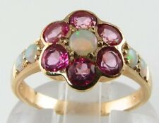 CLASS 9K 9CT GOLD  PINK TOPAZ  & AUS OPAL DAISY ART DECO INS RING FREE RESIZE