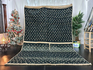 "Vintage Moroccan Boujaad Handmade Rug 6'7""x9'4"" Dotted Black White Berber Carpet"