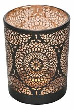 COPPER & BLACK MOROCCAN GLASS HURRICANE CANDLE TEA LIGHT HOLDER