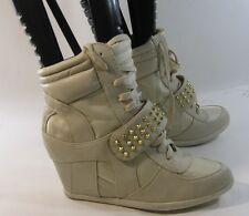 """Beige/gold spike 3""""high hidden wedge heel  ankle boot.front strap size 10"""