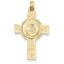 14k Yellow Gold Cross with St. Michael Medal Pendant. (1.4INx0.8IN)