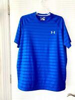 Under Armour UA Mens Tech Pattern Heatgear Loose Tee Shirt Blue Size M - EUC