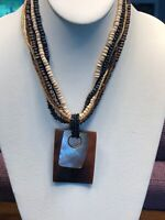 """Vintage Bohemian Wood Beaded Chain Pendant Necklace 16"""" Mother Of Pearl Cow Hirn"""