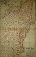 Vintage 1859 CENTRAL ATLANTIC STATES VA NC NY PA NJ MAP Old Antique Original