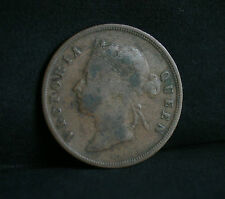 1 Cent 1887 Straits Settlements World Coin KM16 Malaysia Queen Victoria Malay
