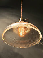 Vintage Industrial Holophane Shaded Pendant Lamp - Hanging Light w/ Ribbed Glass