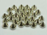 200 Silver Tone Metallic Rock Punk Acrylic Spike Rivet Taper Stud 8X8mm No Hole