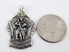 Early Large 3D Sterling Silver M. de Jean St. Christopher Protect Us Pendant