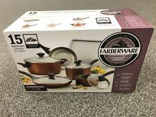 * Farberware 15-Piece Cookware Set 21890 Copper Color with 5 Kitchen Tools New