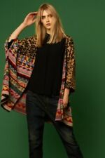 NEW ALDOMARTINS BARCELONA KNIT PONCHO COCOON CARDIGAN INTARSIA SWEATER ONE SIZE