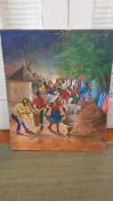 Vintage Original Haitian Art Painting on Canvas by Guerrier - Vivid Colors Nice!