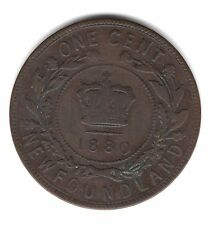 1880 Round Low 0 Newfoundland Canada One Large Cent Copper Penny Coin A141