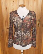 WALLIS brown beige rust orange stretch chiffon floral long sleeve tunic top 14