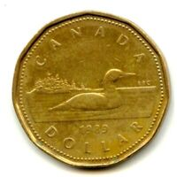Canadian $1 One Dollar Common Loonie Coin, 1989