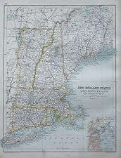 1900 LARGE MAP NEW ENGLAND STATES AND LONG ISLAND WITH ENVIRONS OF BOSTON