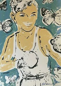 "Large DAVID BROMLEY hand-signed Screenprint ""Float Like a Butterfly ..."""