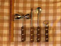 lot of 4 vintage Mid Century Modern MCM bar tool Set Wood brass studded handles