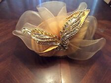 Yellow Woven Sequined Ornate Church Lady Hat Unbranded