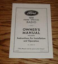 1941 Ford Radio Owners Operators Instruction Manual 41