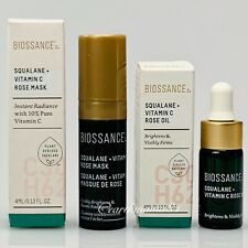 BNIB ~ Biossance Squalane Vitamin C Rose Mask And Rose Oil ~ Mini Size