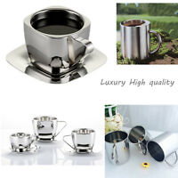 Luxury Double Wall Thick Stainless Steel COFFEE CUP Tea Mug Handled Durable A+