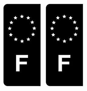 Autocollant Stickers plaque d'immatriculation Noir véhicule auto F France Europe
