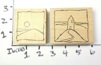 Wooden RUBBER STAMP RubberMoon Dave Brethauer House Hill Sun Moon Impressionist