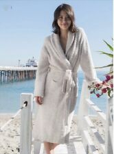 NEW!  $135 BAREFOOT DREAMS  CozyChic Heathered Robe, Stone/White, Size 2