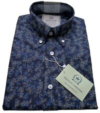 Relco Mens Blue Floral Flower Leaf Shirt Mod Vintage Platinum Collection Paisley