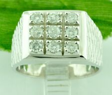 RARE 0.63 CT 14K MENS DIAMOND RING WHITE GOLD 8.80 GRAMS DOMINO STYLE pre owned