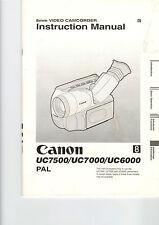 Manuale d'uso Handbook moda D 'utilisation Canon uc7500 + 7000 + 6000 b245