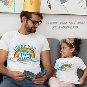 Rainbow Tshirt Thanks NHS Key workers Printed for Kids & Adults supports Charity