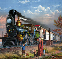 """perfact 30x30 oil painting handpainted on canvas """"Mail Train""""N3689"""
