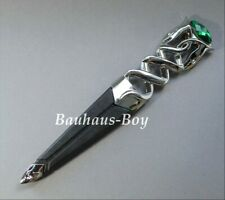 KILT SGIAN DUBH DUMMY SAFETY EMERALD GREEN STONE HIGHLAND SERPENT CHROME FINISH