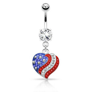 American Flag Crystal Heart Dangle Belly Ring Surgical Steel Pierced Patriotic