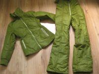 Ladies VINTAGE RETRO SKI SUIT jacket salopettes UK  8 10 chic 80s 90s green