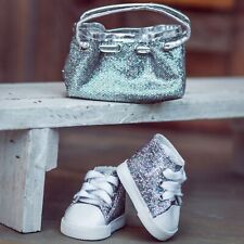 18 Inch Doll SILVER HANDBAG & SNEAKERS Fits American Girl Clothes & Accessories