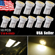 10X Warm White T10 Wedge Side 8SMD LED Bulb Map Dome Light 158 168 192 194 2825