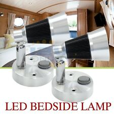 2x12v LED Swivel Bedside Reading Lamp Wall Mount RV Boat Interior Light Cool W