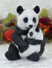 Panda Bär Skulptur Figur Tierfigur Pandabär mit Baby Deko Statue Gartenfigur Neu