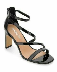 Womens Black Heels Size 7 Wide Fit High Block Stilettos Strappy Open Toe Shoes