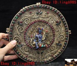 "8"" Nepal Silver Filigree inlay lapis lazuli Gem Green tara guanyin Fokan Shrines"