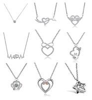 Damen Halskette mit Anhänger Herz 925 Sterling Silberkette Geschenk Schmuck