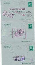 * 1976 x 3 NETHERLANDS AEROGRAMMES RETURNED FROM KOREA INDONESIA RYU-KYU JAPAN
