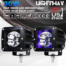 Pair 3inch Cree LED Light Bars w/ Blue Back Light Offroad 4WD Work Driving Lamps