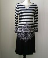 Haani Black White Sheath Dress 3/4 Sleeve Women's Striped Floral Knee Length S