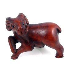 Boxwood Hand Carved Netsuke Sculpture Miniature Walking Goat 1 Leg Up Home Decor
