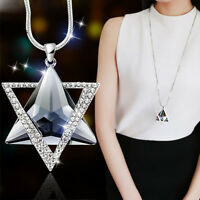 Charm Long Crystal Pendant Necklace Sweater Chains Women Wedding Jewelry Gift FT